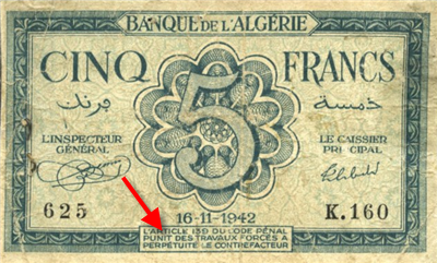 image of an Algerian bank note with one section of text in the French language