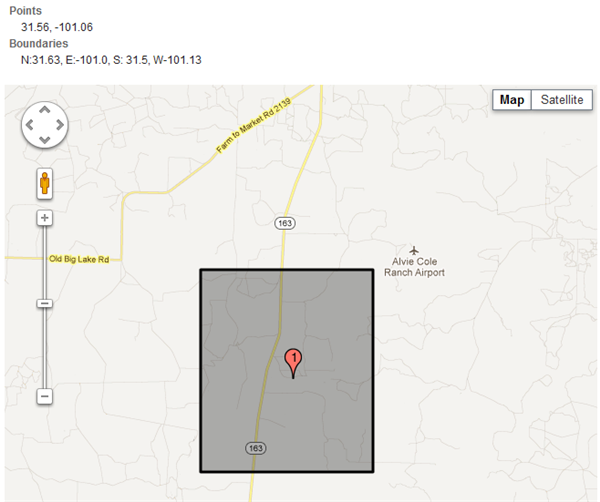 Google map display of Coon Dive Draw Quadrangle.