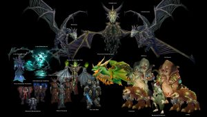 Various boss characters from the World of Warcraft Universe