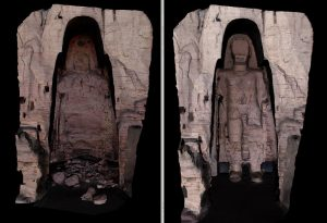 Split image of the Buddha site. One side as it is today. The other with a 3D recreation of the destroyed statue.
