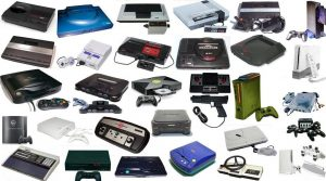 A large collection of various video game consoles