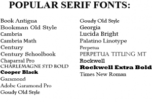 List of Popular Serif Fonts