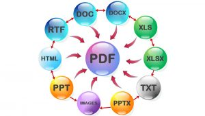Formats that convert to PDF.