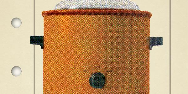 Image of an orange crockpot