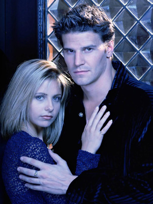 Buffy and Angel embracing. Very 90s.