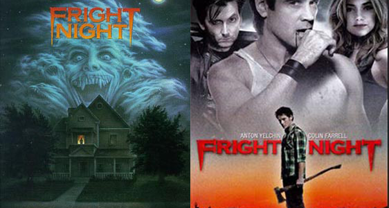 Fright Night DVD covers (1985 on left, 2011 on right)