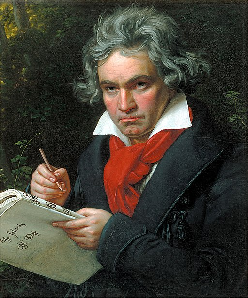 Image of Beethoven with score and pencil