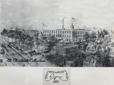 a black and white photo of the Regina Music Box Factory from a wide perspective