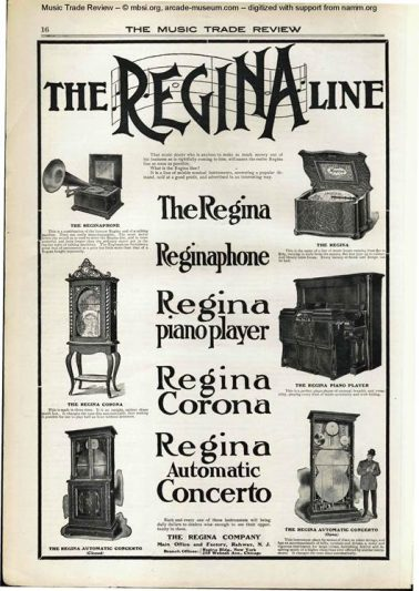 a 1904 Trade Music Review advertisment for different types of Regina boxes