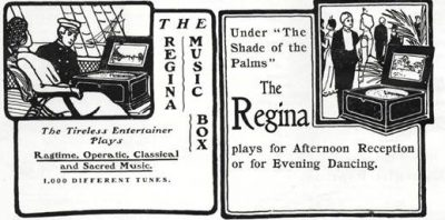 A 1902 Trade Music Review advertisement for the Regina Music Box