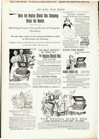 A 1896 Trade Music Review advertisement for the Regina Music Box