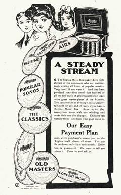 A 1905 Trade Music advertisement for the Regina Music Box