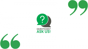 screenshot of an AskUs logo in center with double-quotes on the top-right and bottom-left