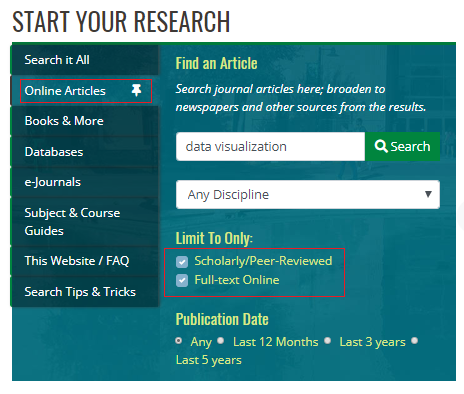 Screenshot of online article search on UNT Libraries website that shows peer-reviewed, full-text default selections