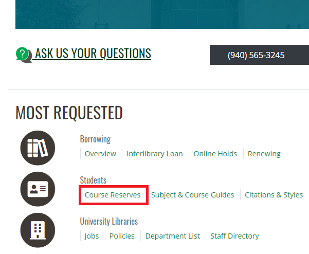 Screenshot of Most Requested tab from our library homepage with a red box indicating Course Reserves which is located under Students.