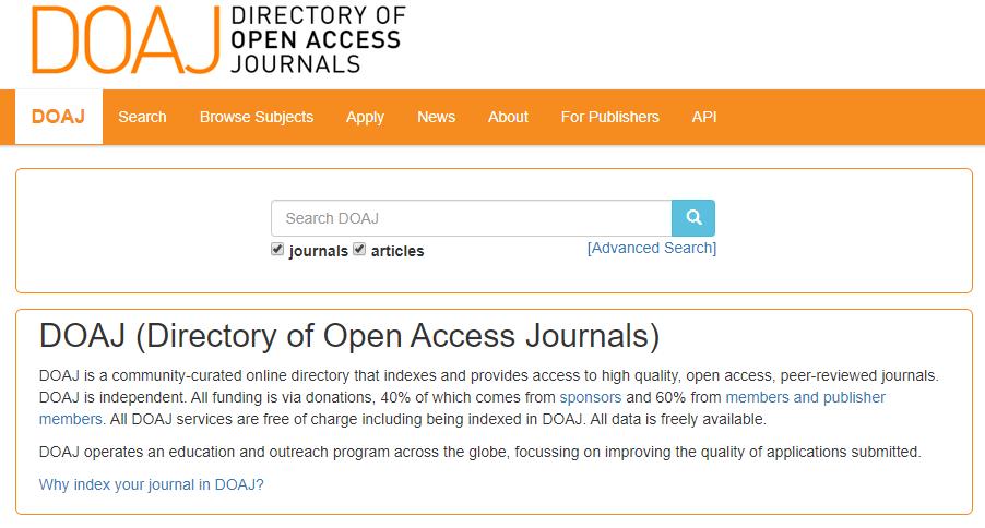 Screenshot of DOAJ homepage