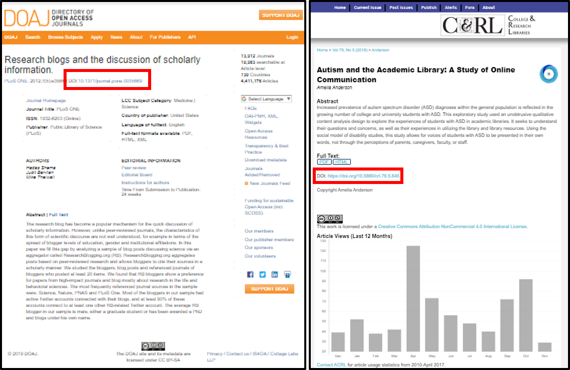 Two screenshots that show DOI locations within database article records