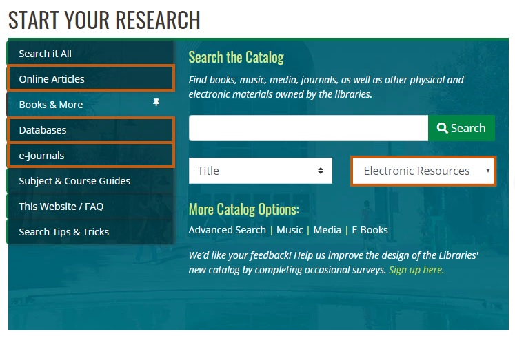 Screenshot of the bluebox from our library website with search the catalog by electronic resources