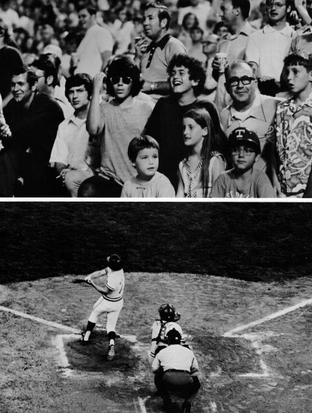 Fans enjoying watching the Texas Rangers play a home game during their first ever season in 1972.