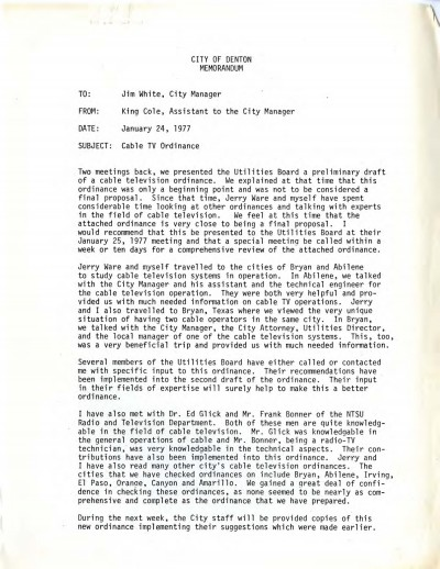Page one of City of Denton Memorandum, January 24, 1977. Tom Harpool Collection, University of North Texas Special Collections.