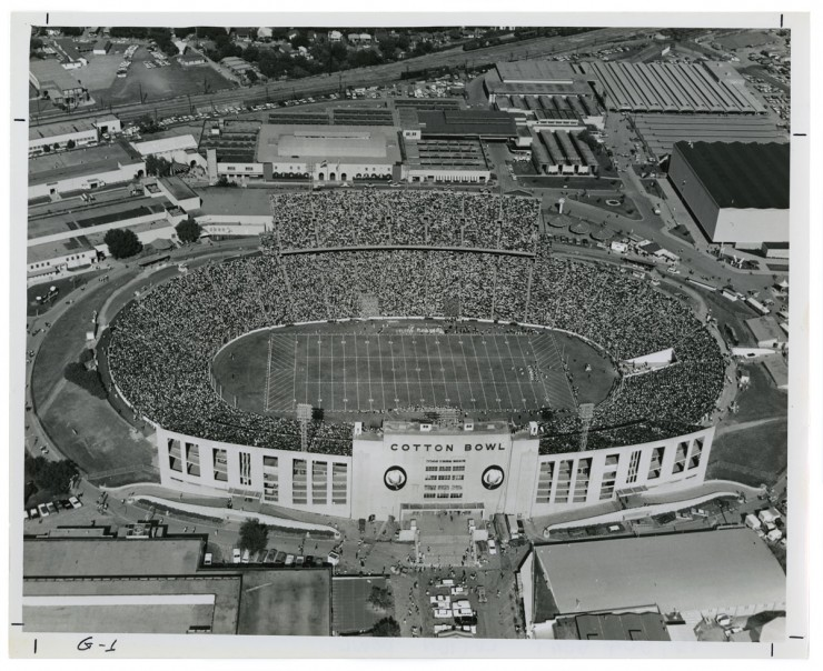 Aerial photograph of the Cotton Bowl stadium in Fair Park. From the Lester Strother Texas Metro Collection. UNTA_AR0327-101-002