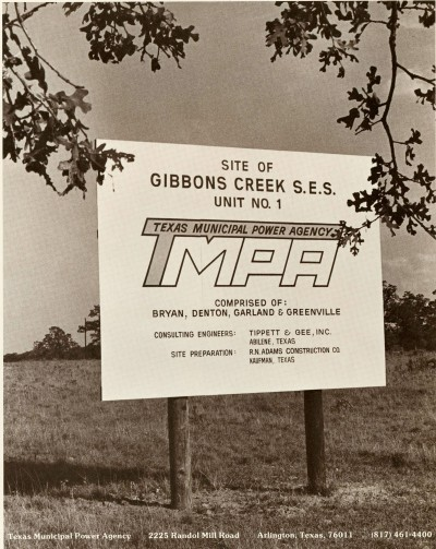 Sign for Site of Gibbons Creek S. E. S.