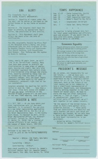 A newsletter from the Tarrant County Women's Political Caucus, August 1981, from the Lanny Hall Collection. UNTA_AR0177-066-001_01