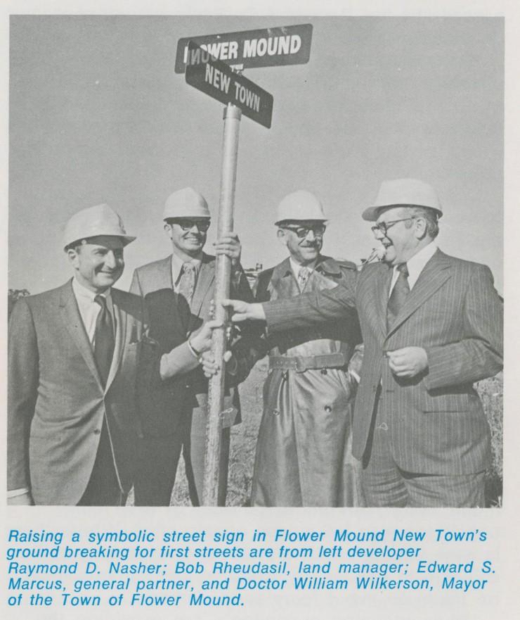 Raymond D. Nasher (left) at the site of Flower Mound New Town.