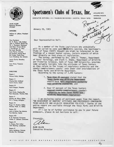 Letter to Lanny Hall from the Sportsmen's Club of Texas, UNTA_AR0177-014-002