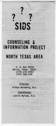 SIDS Counseling and Information Project Pamphlet, UNTA_AR0177-027-001