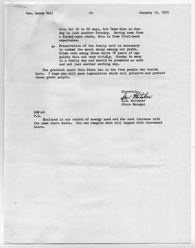 Letter from JCPenny at Ridgmar Mall to Lanny Hall, 1979, UNTA_AR0177-027-003