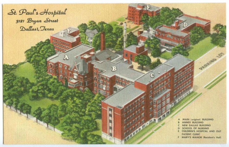 [Map of St. Paul's Hospital], Postcard, n.d.; (http://texashistory.unt.edu/ark:/67531/metapth121635/ : accessed December 01, 2015), University of North Texas Libraries, The Portal to Texas History, http://texashistory.unt.edu; crediting Dallas Heritage Village, Dallas, Texas.