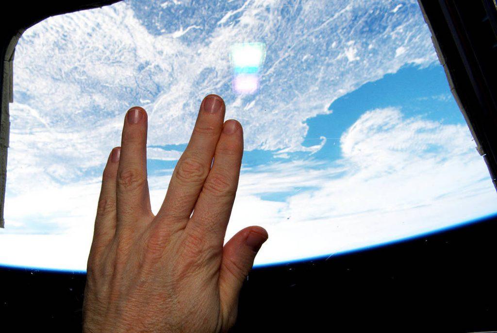 Terry Virts making Vulcan hand salute