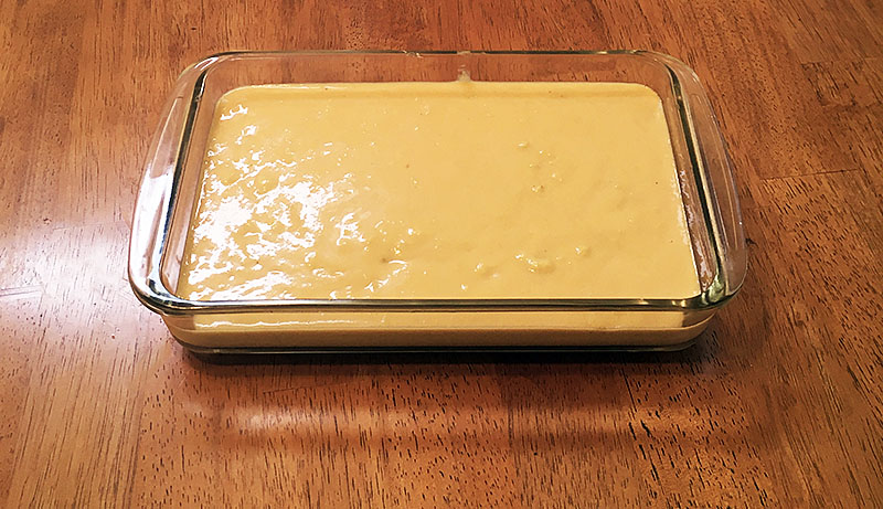 Spoon bread batter about to go into the oven.