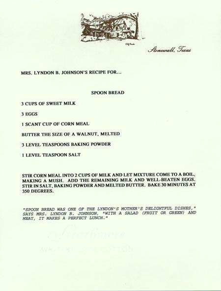Mrs. Lyndon B. Johnson's Recipe for Spoon Bread