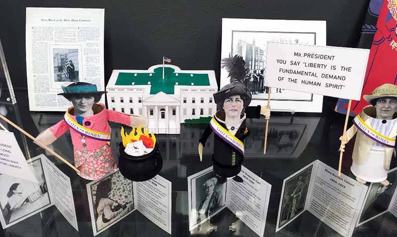19th Amendment exhibit at the Eagle Commons Library.