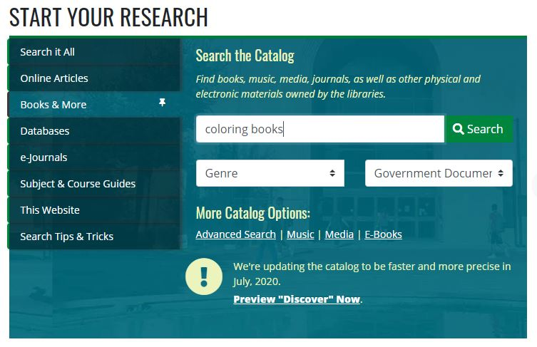 Genre search in UNT Libraries catalog