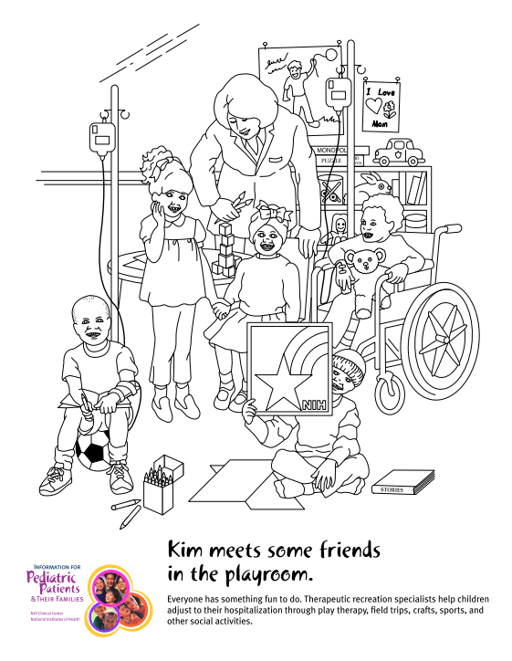 Kin meets some friends in the playroom (NIH coloring book).
