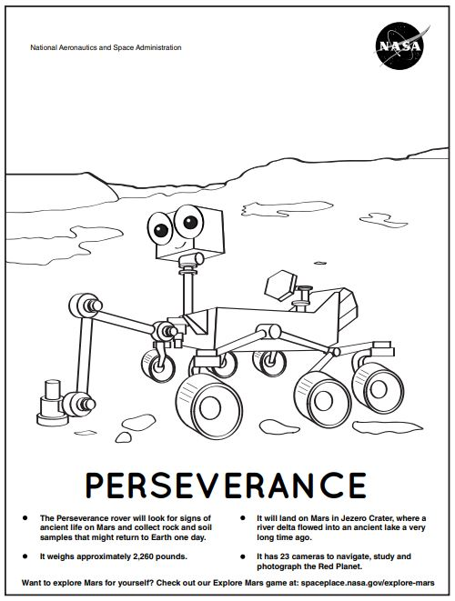 Perseverance coloring page