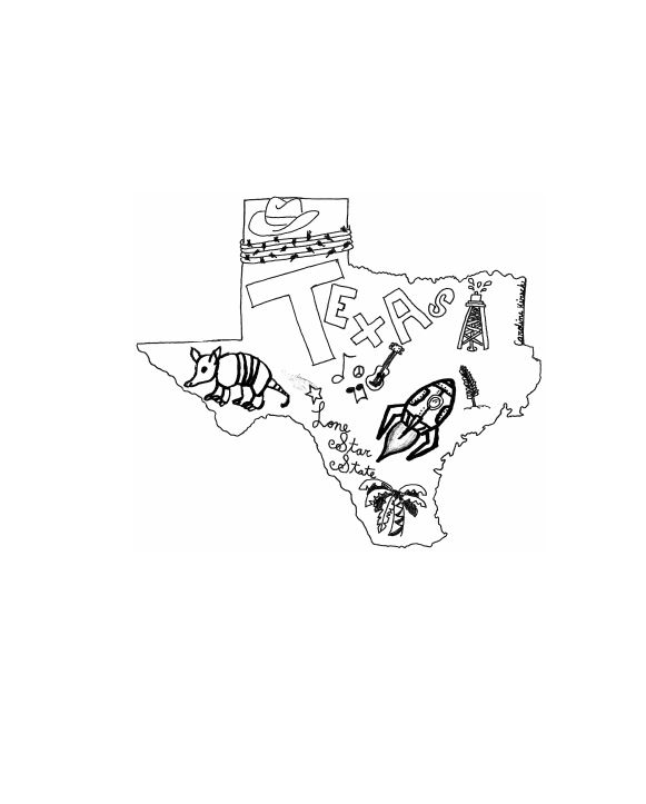 Drawing of Texas symbols published in Texas Register.