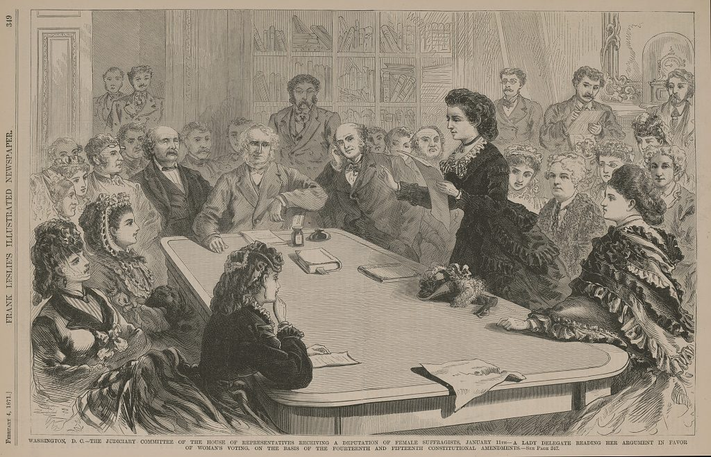 Victoria Woodhull testifying before a congressional committee