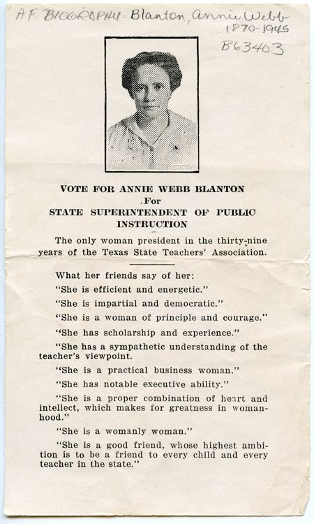 Vote for Annie Webb Blanton for State Superintendent of Public Instruction