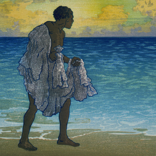 Man on shore with net.