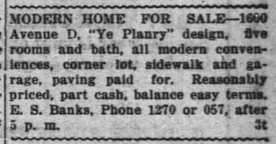 Home for Sale, Brownwood, Texas, September 21, 1920.