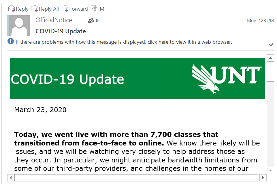 "Email window with email subject ""COVID-19 Update"" from UNT's Official Notice account. Email has green header with COVID-19 Update and UNT logo, with text below reading ""Today, we went live with more than 7,700 classes that transitioned from face-to-face to online."""