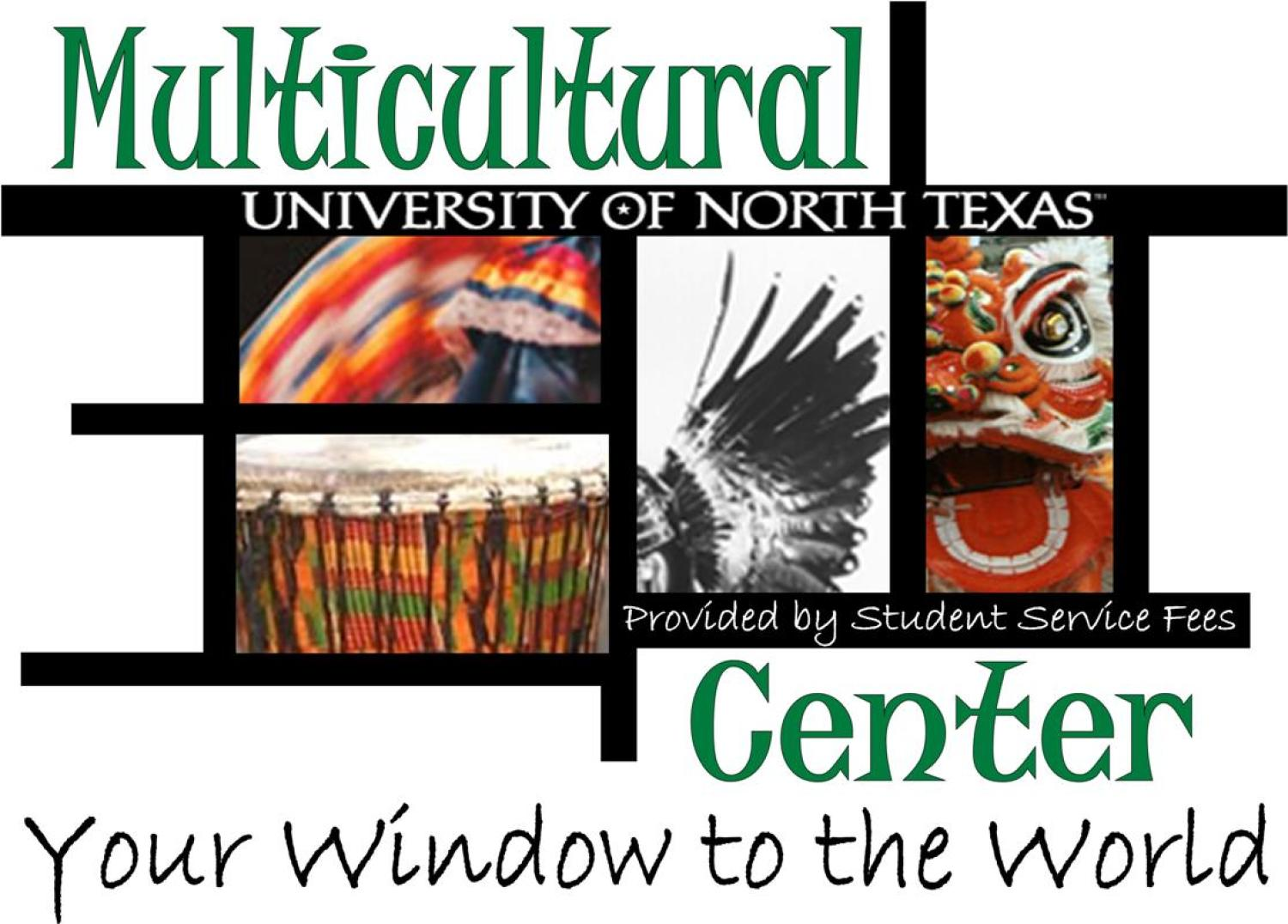 "uneven grid of partial images, one has a chinese dragon head, another a colorful serape, text Multicultural Center in green, ""Your window to the world"" in black below"