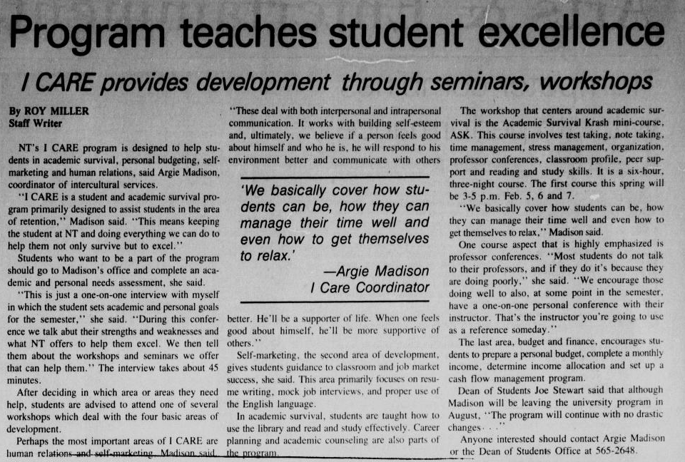 "newspaper article titled "" Program teaches students excellence"""