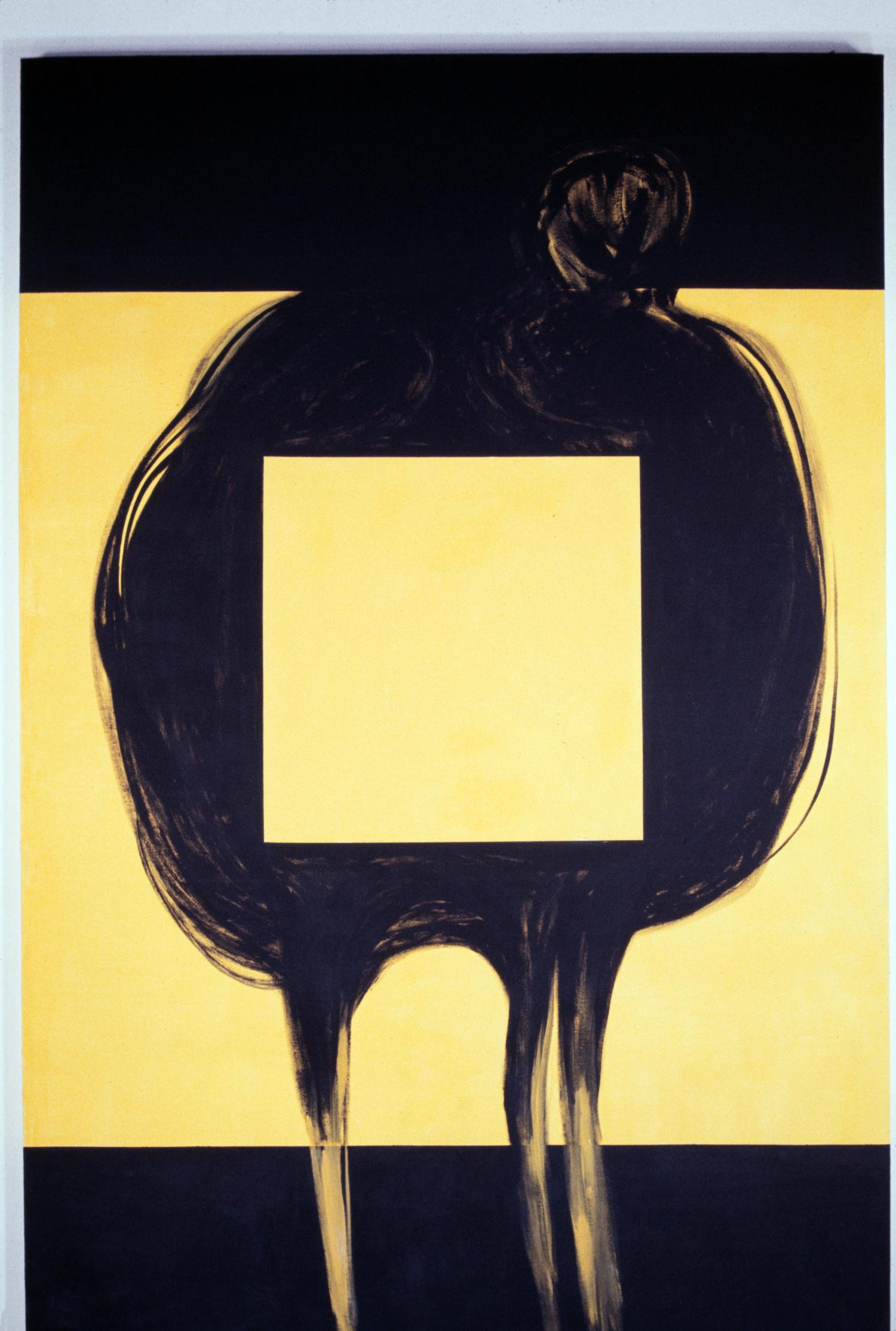 photo of black and yellow painting. there are wide black borders at the top and bottom on the canvas. an amorphous black shape is painted beginning within the top border and extending three tenticles into the bottom border. the background in the center is yellow, with a large yellow square in the center of the black shape.