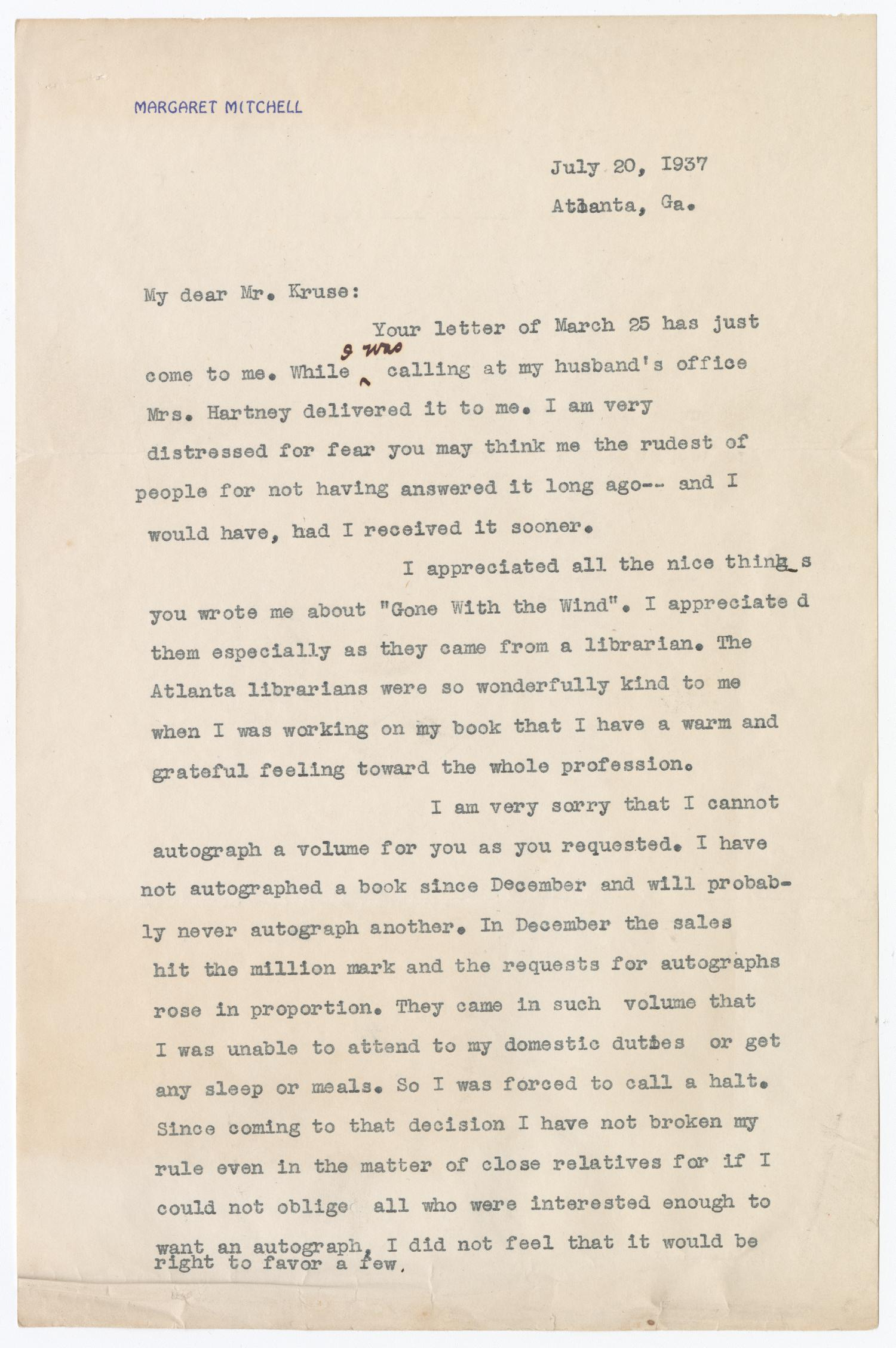 typed letter from Margaret Mitchell to Paul Kruze. A minor correction is hand written in the first paragraph.