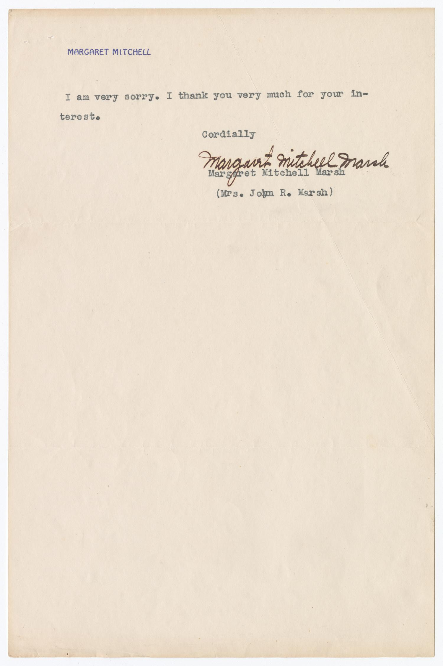 a single typed line and signature ending the letter from Margaret Mitchell to Paul Kruze.